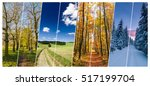 Small photo of Four season collage from vertical banners with roads in landscape. All used photos belong to me.