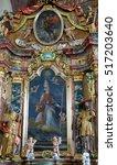 Small photo of KAMENSKO, CROATIA - JUNE 11: Saint Nicholas, altarpiece in parish Church of Our Lady of snow in Kamensko, Croatia on June 11, 2016