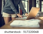 woman store manager working... | Shutterstock . vector #517220068