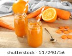 Jars With Vegetable Smoothie On ...
