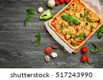 delicious pizza with... | Shutterstock . vector #517243990