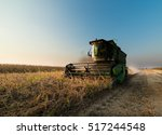 harvesting of soybean field... | Shutterstock . vector #517244548