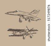 airplane sketch. hand drawn... | Shutterstock . vector #517249876