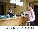 hostess and guest communicate... | Shutterstock . vector #517252834