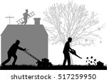 silhouettes of people cleaning... | Shutterstock .eps vector #517259950