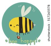 bee happy postcard. the vector...