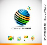 business sphere 3d orange blue... | Shutterstock .eps vector #517269610