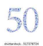 blue floral watercolor... | Shutterstock . vector #517278724