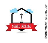 Space Needle Ribbon Banner Wit...