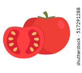 tomato and slice isolated on... | Shutterstock .eps vector #517291288