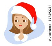 sad girl in the red hat of... | Shutterstock .eps vector #517292254