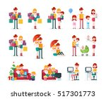 family and couple scenes.... | Shutterstock .eps vector #517301773