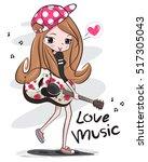 happy teenage girl wearing cap... | Shutterstock .eps vector #517305043
