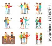happy best friends having good... | Shutterstock .eps vector #517307944