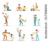loving fathers playing and... | Shutterstock .eps vector #517308043