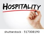hand writing hospitality with... | Shutterstock . vector #517308190