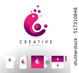 c letter logo with dots. c icon ... | Shutterstock .eps vector #517310848