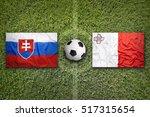 slovakia vs. malta flags on a... | Shutterstock . vector #517315654