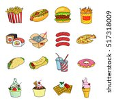 fast food set icons in cartoon... | Shutterstock .eps vector #517318009