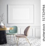 mock up blank poster on the... | Shutterstock . vector #517324966