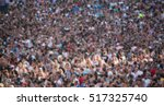 Small photo of Blurred Crowd of People, unrecognizable crowded population as blur background