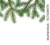 green lush spruce branch. fir... | Shutterstock .eps vector #517328470