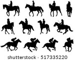 people riding horses... | Shutterstock .eps vector #517335220