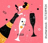 champagne flutes and bottle.... | Shutterstock .eps vector #517339924