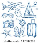 set of isolated sketch images... | Shutterstock .eps vector #517339993