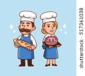 cartoon bakers couple  man with ... | Shutterstock .eps vector #517361038
