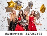 four happy joyful young women... | Shutterstock . vector #517361698