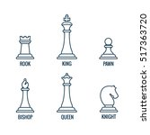 Chess Pieces In Thin Line Icon...