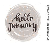vector hello  january poster  | Shutterstock .eps vector #517369636