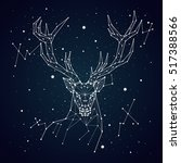 starry sky constellation deer | Shutterstock .eps vector #517388566