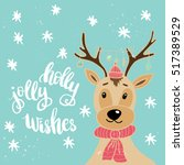 christmas card template. hand... | Shutterstock .eps vector #517389529