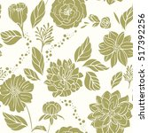 seamless floral pattern green... | Shutterstock .eps vector #517392256