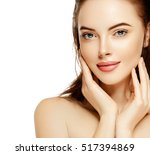 beautiful woman skincare... | Shutterstock . vector #517394869