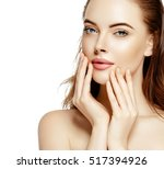 beautiful woman skincare... | Shutterstock . vector #517394926