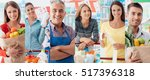 smiling people at the store ... | Shutterstock . vector #517396318