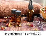 essential oils with died herbs... | Shutterstock . vector #517406719