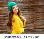 beautiful smiling brunette... | Shutterstock . vector #517412404