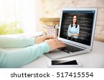 Small photo of Woman video conferencing with tutor on laptop at home. Distance education concept.