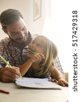 father drawing with his... | Shutterstock . vector #517429318