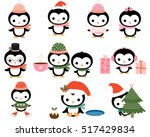 Cute Christmas Penguins With...