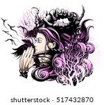 demon girl praying with closed... | Shutterstock .eps vector #517432870