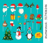 christmas photo booth props set ... | Shutterstock .eps vector #517436146