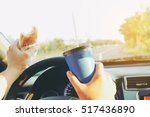 man is dangerously eating hot... | Shutterstock . vector #517436890