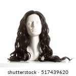 mannequin female head with wig... | Shutterstock . vector #517439620