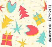 mid century christmas pattern... | Shutterstock .eps vector #517440673