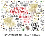christmas vintage vector card.... | Shutterstock .eps vector #517445638